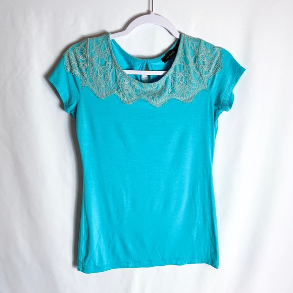 The Limited Tops - The Limited Short Sleeve Turquoise Blouse